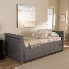 Twin Size Day Bed by Baxton Studio Swamson Modern And Contemporary Grey Fabric Tufted