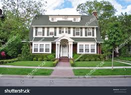 colonial style home colonial style home suburban residential neighborhood stock photo
