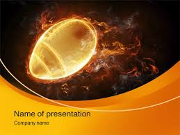 fiery american football ball presentation template for powerpoint