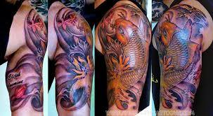 half sleeve koi fish tattoo design for men 2 tattoos book