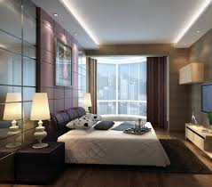 Mirrored Wall Panels Sophisticated Brown And White Bedroom With Long Tray Ceiling Above