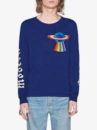 gucci cotton shirt with planet applique in blue for men lyst