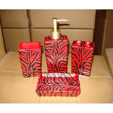 19 piece bath accessory set animal red zebra print bathroom rug