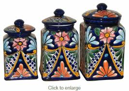 Square Kitchen Canisters by Mexican Talavera Canister Set