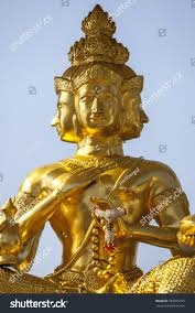 God Statue by Three Headed Hindu God Statue Bangkok Stock Photo 283255745