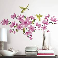 floral wall decals bring spring color into your home