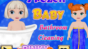 Cleaning Games For Girls Frozen Baby Bathroom Cleaning Disney Princess Frozen Video