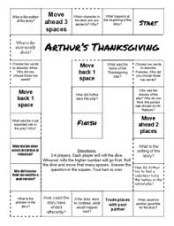 arthur s thanksgiving book thanksgiving comprehension teaching resources teachers pay teachers