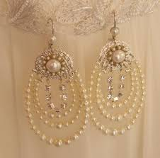 pearl chandelier pearl chandelier bridal earrings statement rhinestone