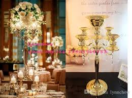 Crystal Chandelier Centerpiece H75cm W48cm 5 Heads Crystal Candelabra Candle Holder Wedding