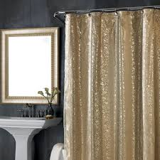 Gray Fabric Shower Curtain Water Repellent Fabric Shower Curtains Gray Floor Black Iron Table
