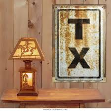 texas state abbreviation framed corrugated metal sign travel