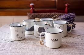 rustic wedding favors set of 96 personalized enamel mugs
