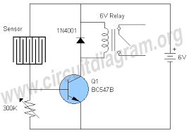 rain detector switch using relay circuit diagram