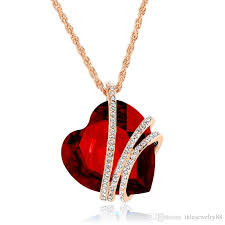 heart necklace red images Wholesale 9 heart swarovski crystal necklaces high grade brief jpg