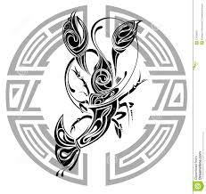 zodiac whell with sign of aries tattoo design stock vector
