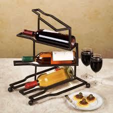 interior mounted black metal wine racks with rectangular bottle