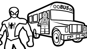lego spiderman bus u0026 spiderman coloring pages kids coloring