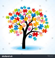 abstract tree puzzle colorful background stock vector 121831099