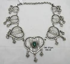 silver necklace with stone images Kolapuri silver stone necklace at rs 4350 piece silver necklace jpg