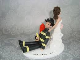 fireman cake topper cake topper dragging groom custom firefighter cake topper