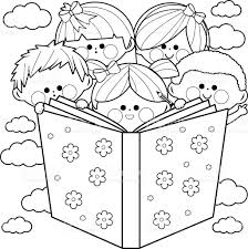 children reading book coloring book stock vector art