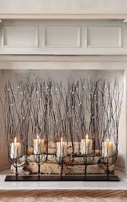 fireplace screen with candles home design