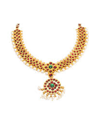 vama collections one gram gold plated temple jewellery kempu