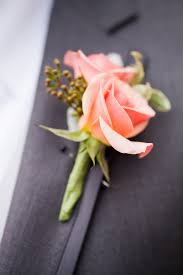 coral boutonniere soft coral spray roses for the men s lapel bridal party details
