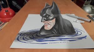 art drawing batman 3d draw 3d batman trick art