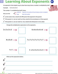 exponents rules worksheet education com