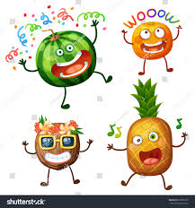 funny fruit characters isolated on white stock vector 662056789