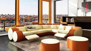 orange leather sectional sofa divani casa 3087 modern beige and orange bonded leather sectional