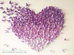 ombre butterfly 3d canvas wall lavender purple