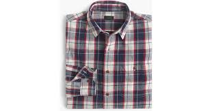 j crew rustic cotton shirt in loyola plaid in blue for men lyst
