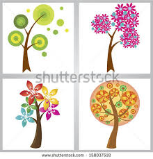 cute trees vector set colorful stylized trees valentines stock vector