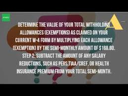 W 4 Withholding Table How Do You Calculate Withholding Tax Youtube