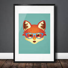 hipster fox u2013 fun u0026 funky animal in sky blue spectacle glasses a3