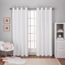 Winter Window Curtains Textured Linen Winter White Thermal Grommet Top Window Curtain