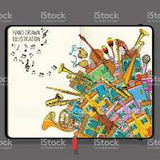illustration with different houses and music instruments music