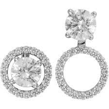 earring jackets dangle 14k white gold 1 2 ctw diamond convertible earring jackets