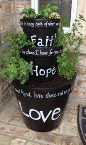 diy herb garden with painted terra cotta planters home