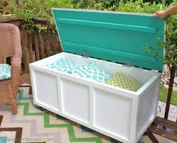 store your summer pillows in this diy outdoor storage bench full