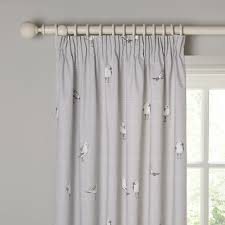 How To Fit Pencil Pleat Curtains Buy John Lewis Coastal Birds Printed Lining Pencil Pleat Curtains