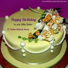 write sister name on flower design birthday cake