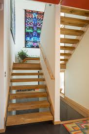 painting stair treads staircase modern with open risers dark floor