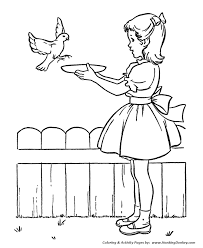 spring coloring pages kids spring feeding birds coloring
