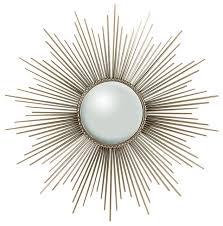 sunburst mirror nickel with security hardware midcentury wall