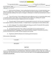 example contract with stock broker form 8ws templates u0026 forms