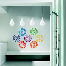7pcs set yoga chakra symbol wall decals